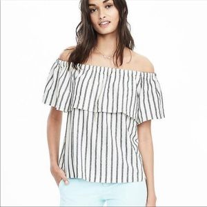 BANANA REPUBLIC Striped Off The Shoulder Top